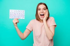 Close up photo beautiful her she lady cute arms hands hold calendar weekend vacation free company pays winner best. Worker nomination prize wear casual t-shirt royalty free stock images