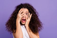 Close up photo beautiful her she lady unexpected arms hands fingers hide face eyes full fear opened mouth oh no. Expression wear casual white t-shirt clothes royalty free stock photos