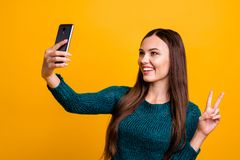 Free Close Up Photo Beautiful Her She Lady Hold Arm Hand Telephone Make Take Selfies Show Fingers V-sign Symbol Say Hi Blog Royalty Free Stock Image - 143993016