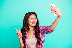 Free Close Up Photo Beautiful She Her Lady Hold Hand Arm Smart Phone New Model Make Take Selfies Show V-sign Say Hi Wearing Stock Photos - 141861073