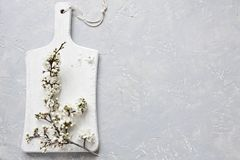 Close-up photo of beautiful white blooming flowers of cherry tree branch on white wooden cutting board on grey background. Top view Royalty Free Stock Photo