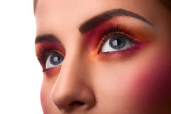 Close-up photo of beauty pink and orange makeup Stock Photography