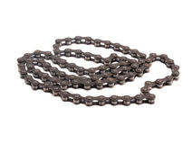 Close up photo of a bicycle chain on a white background Royalty Free Stock Image