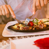 Close up photo of big food dish in restaraunt Royalty Free Stock Image