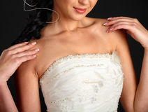 Close up photo of bride wearing wedding dress royalty free stock images