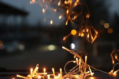 Close Up Photo of Brown String Lights Royalty Free Stock Photos