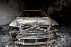 Close up photo of a burned out car Royalty Free Stock Photo