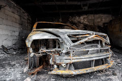 Close up photo of a burned out car Royalty Free Stock Images