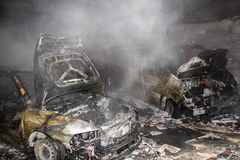 Close up photo of a burned out cars Royalty Free Stock Photography