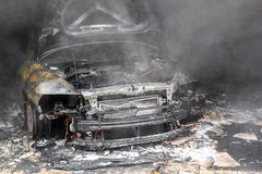 Close up photo of a burned out cars Royalty Free Stock Photos