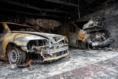 Close up photo of a burned out cars Royalty Free Stock Image