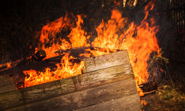 Close-up photo of burning wooden boxes. In big bonfire Stock Photography