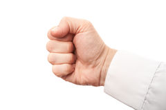 Close up photo of a businessman fist isolated on white. Background Stock Images