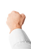 Close-up photo of a businessman fist isolated on white. Background Stock Images