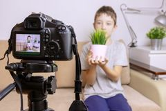 Close up photo of camera on tripod with a boy on LCD screen and blurred scene on background. Male child video blogger recording vl stock photo