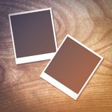 Photo card on wood table. Close up photo card on wood table Royalty Free Stock Images