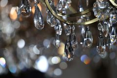 Close-up photo of chandelier during Jason Wu show. NEW YORK, NY - FEBRUARY 10: Close-up photo of chandelier during Jason Wu show during New York Fashion Week on royalty free stock images