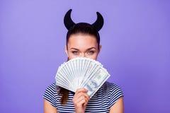 Close up photo charming classy shiny flirt flirty lady youth hide face money aim victory lottery fabulous think plan stock photo