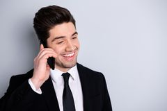Close up photo of charming excited sales manager have dialogue friends colleagues clients feel satisfied content laugh. Good news isolated dressed fashionable royalty free stock photography