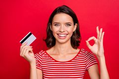 Close up photo cheerful charming lady positive satisfied advert alright good like fine choice decision advice promoter. News discount black friday striped t royalty free stock photos