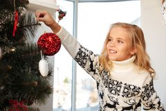 Close-up photo of cheerful little blonde girl in knitted sweater. Hangs red bauble on Christmas tree Royalty Free Stock Photography