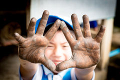 Close up photo of child hands in potter craft Royalty Free Stock Photography