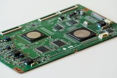 Close up photo of circuit board on white background stock image