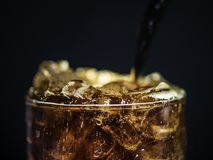 Close-up Photo of Clear Drinking Glass With Black Liquid royalty free stock photo