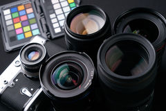 Close up photo of Collection of camera lens Royalty Free Stock Images