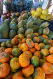 Close up photo of a colorful fruit stand in Costa Rica. Stock Photo