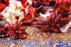 Close-up photo of colorful scented potpourri. On a golden metallic background selective focus stock images