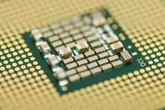 Close up photo computer micro processor shallow depth of field. Concept photo Stock Photos