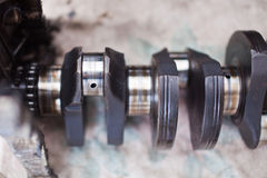 Close-up photo of the crankshaft car engine Stock Photography