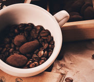 Close up photo of cup with coffee beans and chocolate Stock Photo