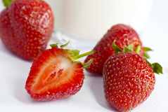 Close up photo of cut strawberry Royalty Free Stock Photo