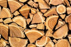 Close-up photo of a dry chopped wood, wooden logs for a fire or a fireplace neatly stacked in a pile Stock Photography