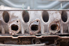 Close-up photo of An exhaust manifold Stock Photo
