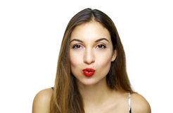 Close up photo of fashionable attractive beautiful tender girl sending air kiss. Valentine`s day concept royalty free stock photos