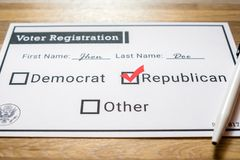 Voter registration card with Republican party selected - Close Up. A close up photo of a faux voter registration form signifying that a person is joining the Royalty Free Stock Image