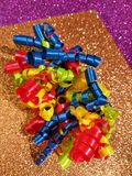 Colorful streamers party ideas royalty free stock images