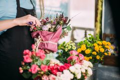 Close up photo of florist`s master class stock photos