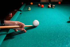 Close up photo fragment of the pool billiard game Royalty Free Stock Image