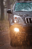 Close-up photo front side of the black SUV in forest at rain.  Stock Images