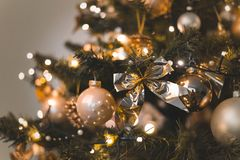 Close-Up Photo of Gold And Silver Christmas Ornaments royalty free stock photography