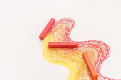 Close up photo of gradient made of pastel crayon chalks over the Royalty Free Stock Photos