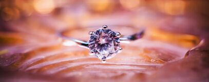 Close Up Photo of Grey and Diamond Ring Royalty Free Stock Images