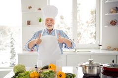 Close up photo grey haired he his him grandpa arms hands thumbs up advising use utensils tested deal done approval wear royalty free stock photos