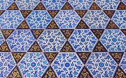 Close up photo of handmade Turkish tiles Royalty Free Stock Image