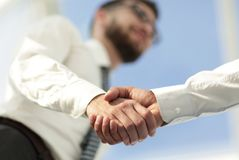 Close-up photo of handshake of two successful businessmen royalty free stock images