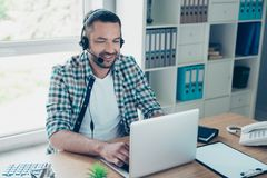 Close up photo handsome he him his guy headset speak microphone customer answer questions help assist buy buyer call. Close up photo handsome he him his guy royalty free stock photography